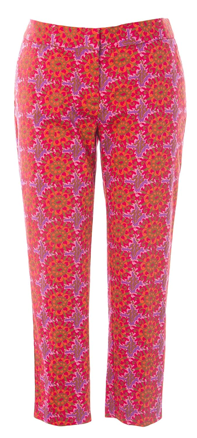 BODEN Women's Floral Bistro Crop Trousers US Sz 8P Red Multicolored