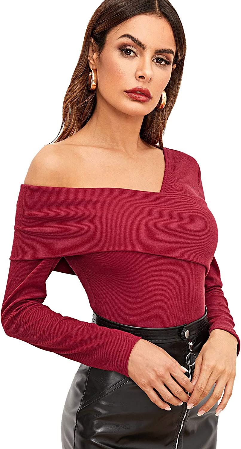 Romwe Womens Casual Cross Off Shoulder Deep V Neck Ribbed Knit Slim Wrap Tee Shirt Blouse