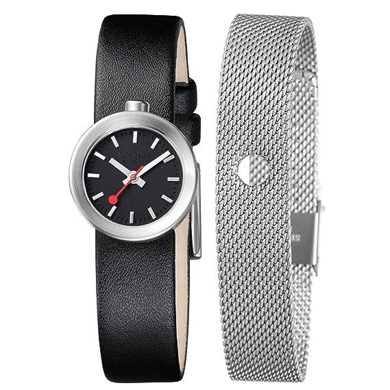 Mondaine SBB Aura 22mm A6663032414SBBB Reloj de pulsera Cuarzo Mujer correa de Cuero Negro