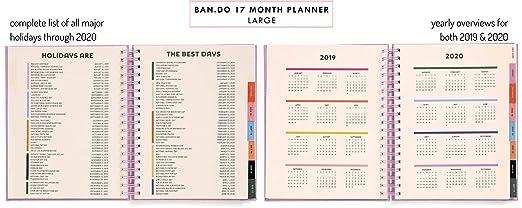 Ban.do Planificador diario grande de 17 meses 2019-2020 con ...