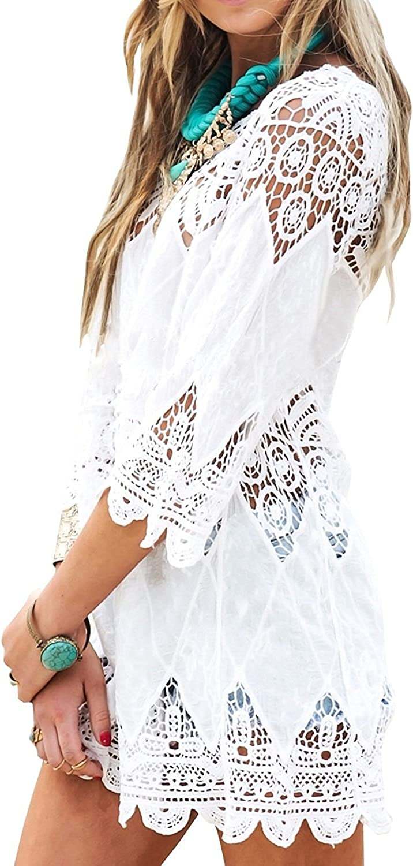 Voqeen Womens Hollow Out Hook Flower Bikini Cover up Blouse Swimwear Beach Dress