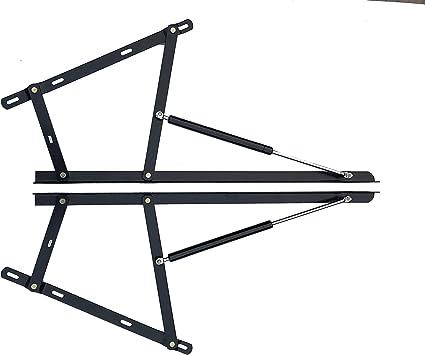 Kit de mecanismo de bisagra de metal de alta calidad y 2 remolques hidráulicos de gas, para almacenamiento de cama otomana, resistente, 1000n