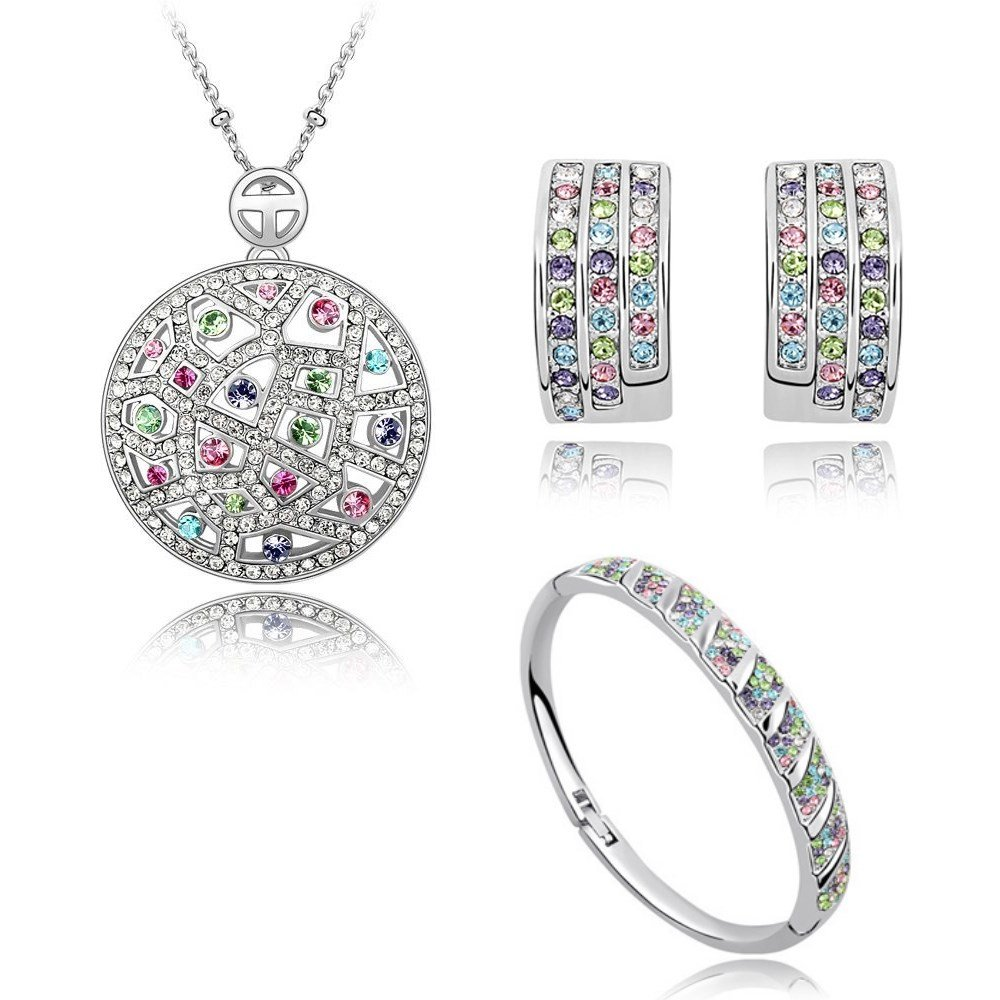 Colorful Crystals from Swarovski Set Pendant Necklace 18'' Earrings Bangle18 ct White Gold Plated for Women
