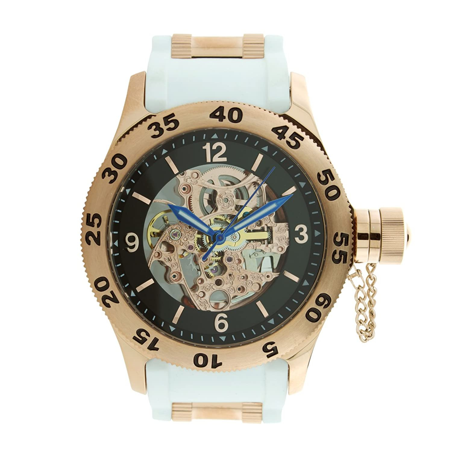 Rougois Rose Gold Automatic Skeleton Naval Diver Watch White Band
