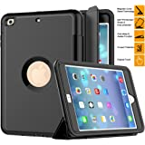 iPad Mini 1 2 3 Case, SAYMAC Three Layer Drop Protection Rugged Protective Heavy Duty iPad Case with Magnetic Smart Auto Wake / Sleep Cover for Apple iPad Mini 1/2/3 (Black)