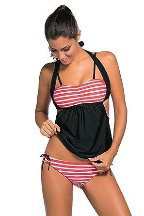 b2d97bb40e52b Amazon.com: EZON-CH Summer Beach White Red Stripes Black Splice Tankini  Swimsuit (US 16-18) XL: Clothing