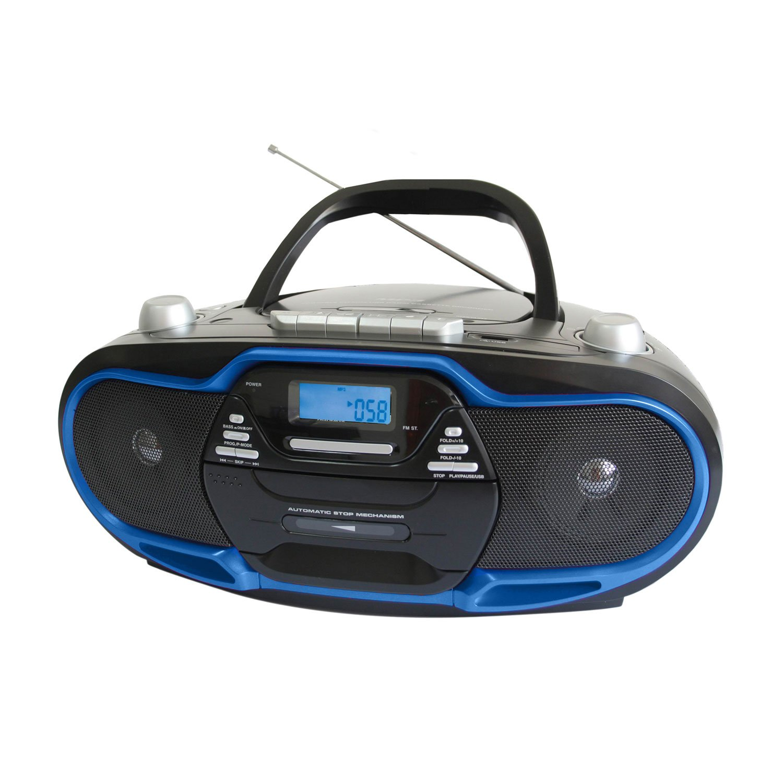 portable mp3 cd player cassette recorder usb aux input am fm radio ac dc 110 220 ebay. Black Bedroom Furniture Sets. Home Design Ideas
