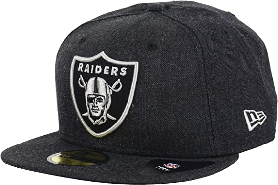 New Era Oakland Raiders Heather Black NFL cap 59fifty 5950 Fitted Men Basecap