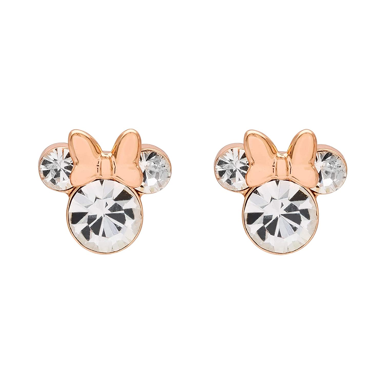 Mickeys 90th Anniversary Pink Gold Plated Brass Crystal Stud Earrings Mickey/'s 90th Anniversary Jacmel EF00469PAPRLNJ Disney Minnie Mouse Jewelry Crystal Stud Earrings