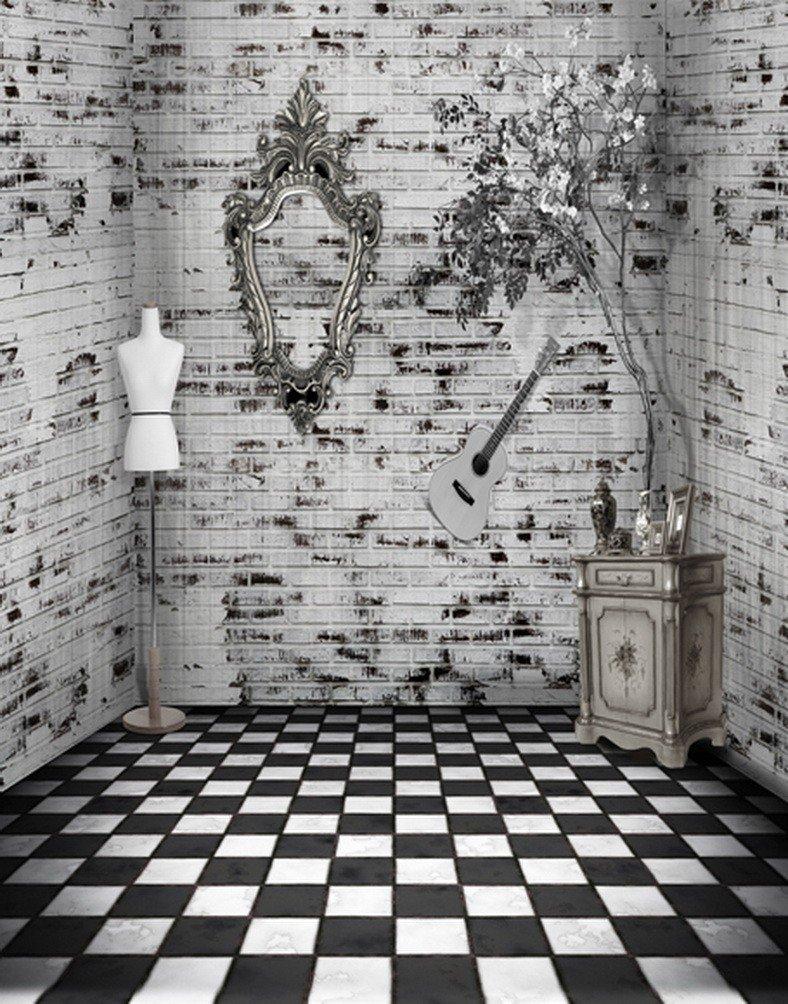 A MonamourブラックandホワイトLatticed Checked床印刷インドア部屋シーン5 x 7ftビニールファブリック写真背景写真背景幕ウェディングStudio用小道具  3D vision brick wall floor B06XQZ6CWZ