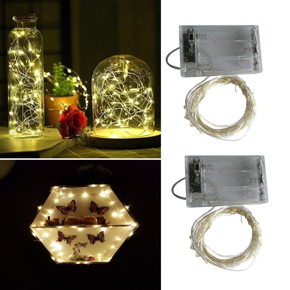 2 x Guirnalda de luces funciona con pilas, 2 Modo Luz Plata Alambre Cadenas 16.5 ft 50 ledes para dormitorio Navidad Celebración Boda Decoración, blanco cálido,