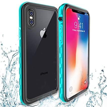 new concept 636b2 68de7 Transy iPhone Xs/X Waterproof Case,Underwater Full Body Protective  Shockproof Case with Built-in Screen Protector Design for iPhone Xs/X