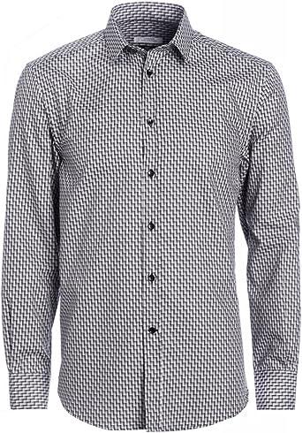 Versace Collection negro y blanco geométrico camiseta: Amazon ...