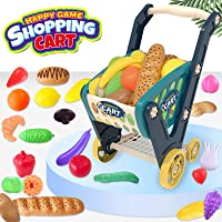 LEAMEERY Toy Shopping Cart for Toddlers, Kids Shopping Cart Include 33 Pieces Fruits, Vegetables and Bread, 25.5 inches…