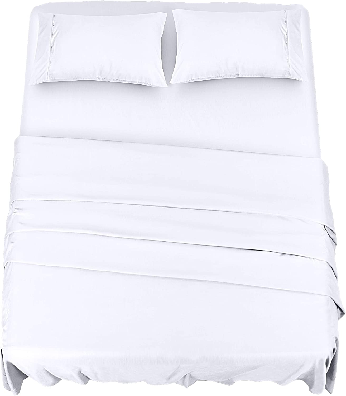 Utopia Bedding Juego Sábanas de Cama - Microfibra Cepillada - Sábanas y 2 Fundas de Almohada - (Cama 150, Blanco)