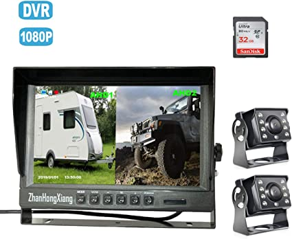 "7/"" Dual Split 1080P Monitor Dual Camera DVR Front//RearView For Truck Caravan Bus"