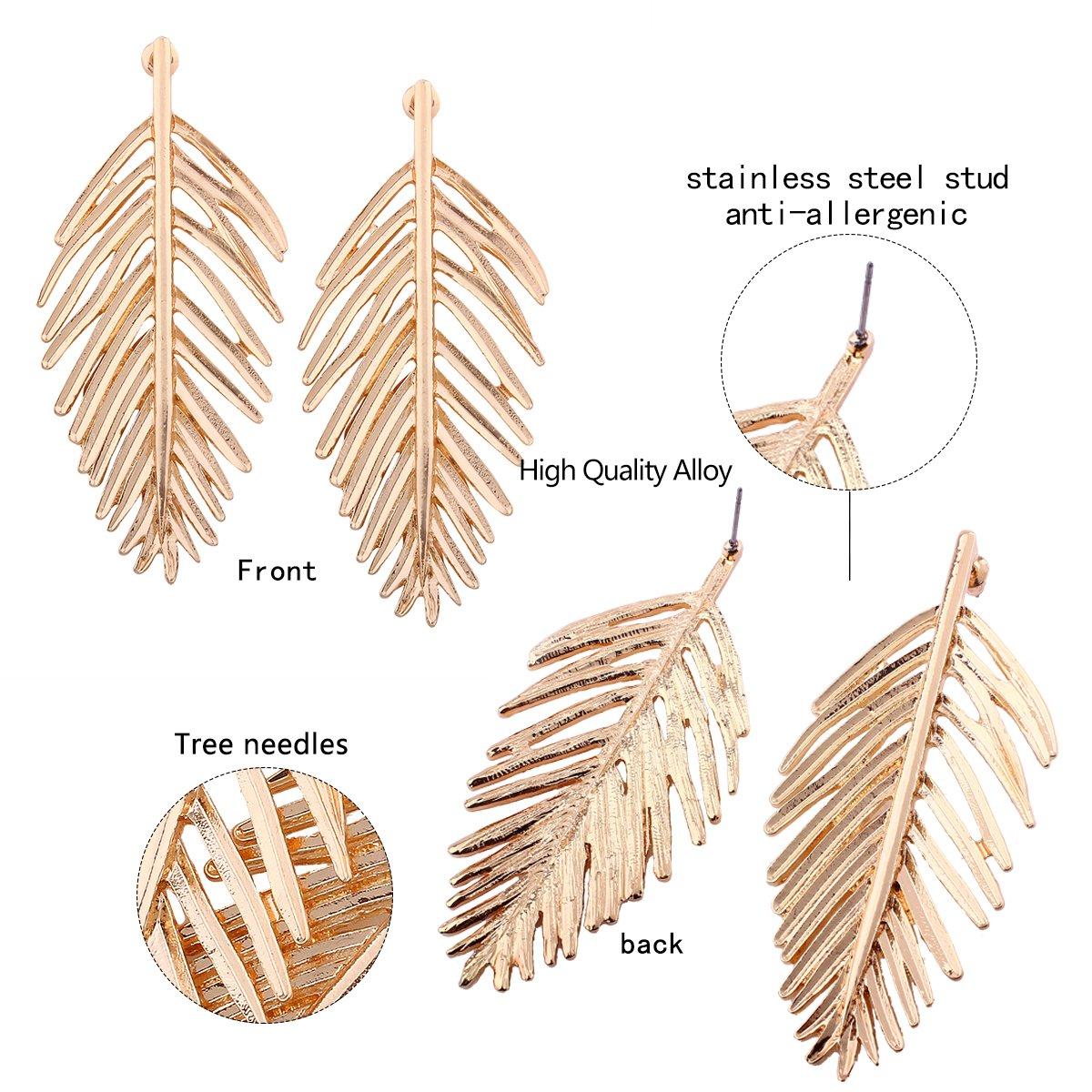 Long Hanging Metal Link Leaf Drop Dangle Earrings