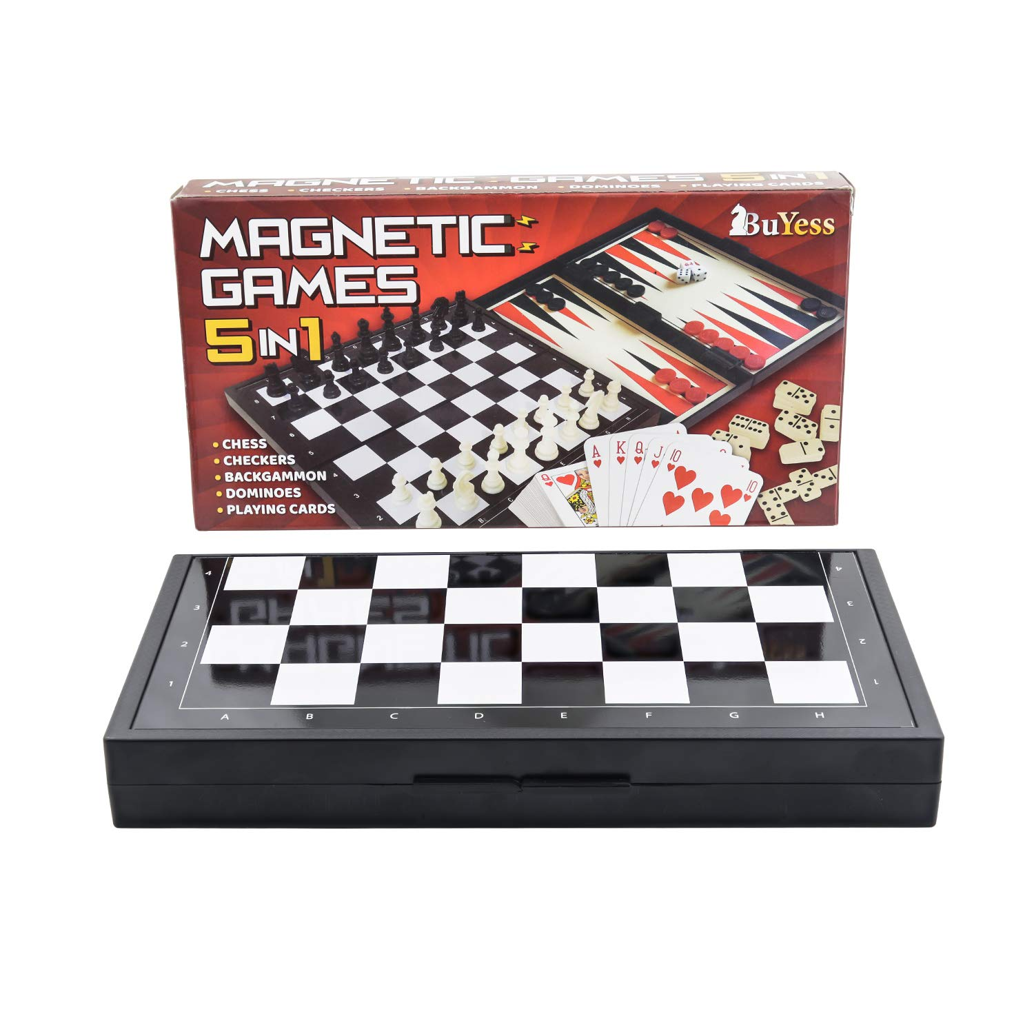 5 in 1 Magnetic Travel Chess Set + Checkers, Dominoes, Backgammon, Playing Cards for Kids and Adults by Buyess