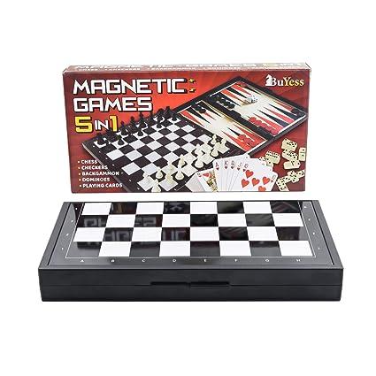 Amazon.com: Juego de ajedrez de viaje magnético 5 en 1 + ...