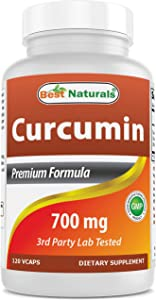 Best Naturals Turmeric Curcumin Extract 700 mg 120 Veggie Capsules - MAX Potency - Super Strength Curcumin) with 95% Curcuminoids for Maximum Health & Vitality! Strongest & Most Effective