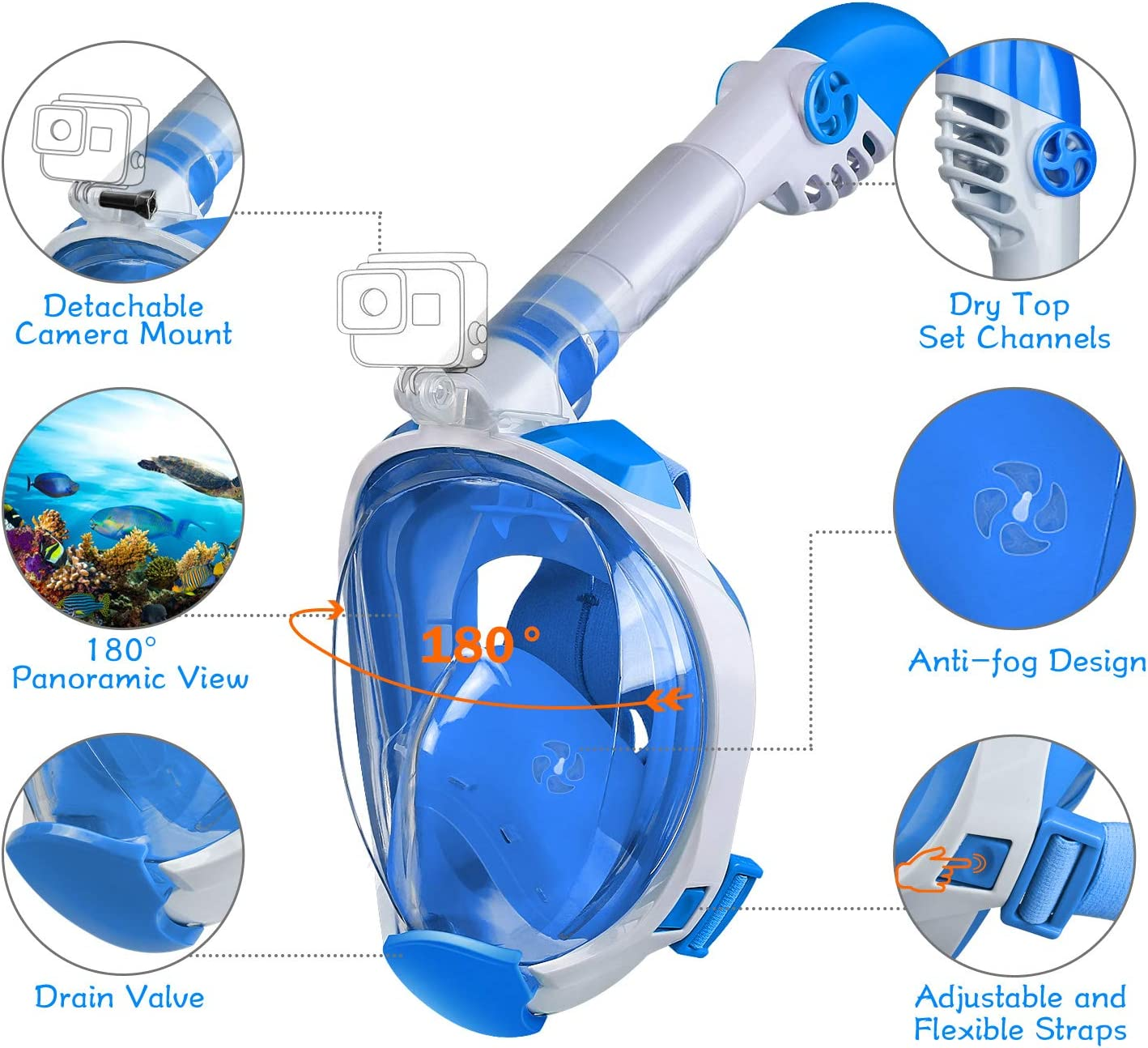 OUSPT Full Face Snorkel Mask Dry Top Set Anti-Fog Anti-Leak Snorkeling Mask with Detachable Camera Mount Panoramic 180/° View Upgraded Dive Mask with Safety Breathing System
