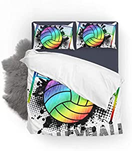 FlowerFish Volleyball Ball and Splashes Ultra Soft Bed Set Lightweight Brushed Microfiber Fabric Bedroom Decor Best Gift for Bedroom -1Duvet Cover + 1Pillowcase, Twin Size