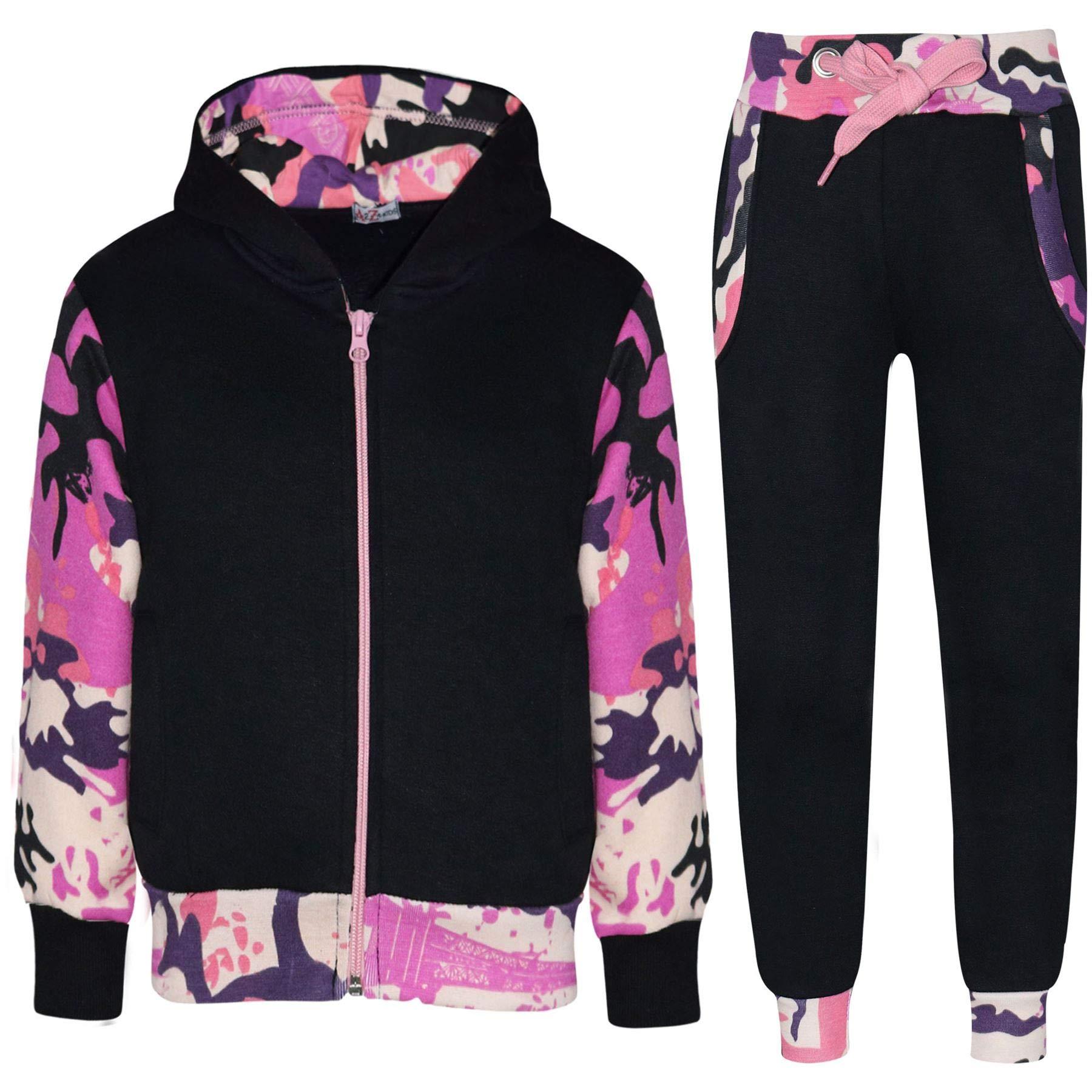 Kids Boys Girls Tracksuit Fleece Hooded Top - T.S Plain 101 Camo Baby Pink 13
