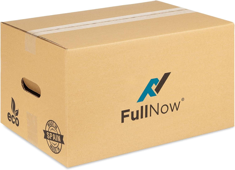 FULLNOW Pack 20 Cajas Cartón con Asas para Mudanza y Almacenaje Ultraresistentes, 430x300x250mm, Fabricadas en España, Canal Simple Reforzado