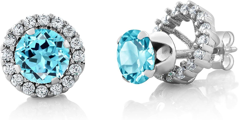 Blue teal stone ear jacket earrings