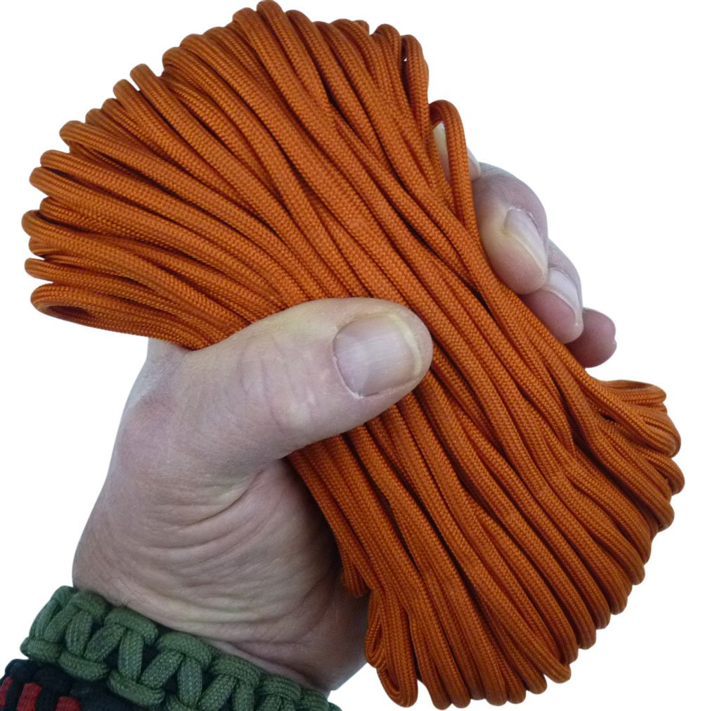 MilSpec Paracord Int'l Orange 8-Strand 55 ft. Hank. Guaranteed MIL-C-5040H Compliant, Military Survival 550 Parachute Cord, Type III. Made in USA. 100% Nylon, 600 Lb. Break Strength, 2 Free eBooks.