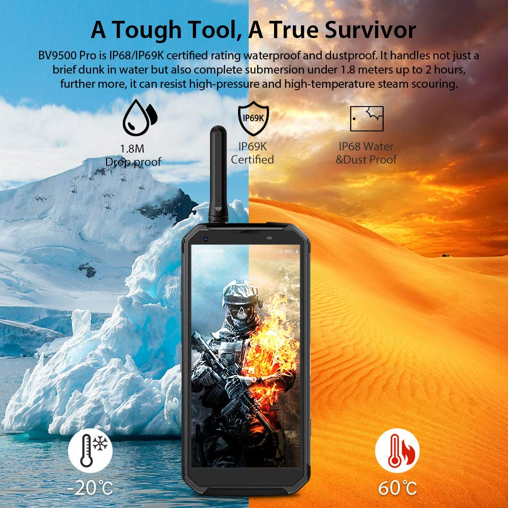 Blackview BV9500 Pro Movil Todoterreno IP68 Impermeable 10000mAh (Walkie-Talkie, 6GB RAM 128GB, SIM Doble 4G, Android 8.1) Moviles Resistentes 5.7 FHD+ ...