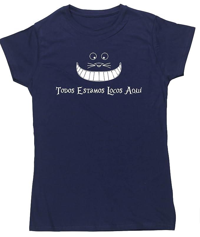 HippoWarehouse Todos estamos locos aquí camiseta manga corta ajustada para mujer: Amazon.es: Ropa y accesorios