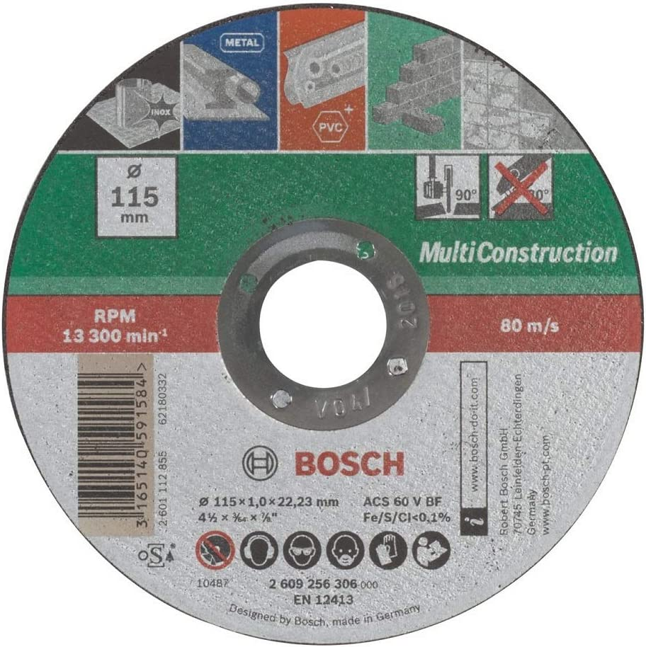 BOSCH 2609256306 - Disco multiuso, 115 mm x 1 mm, recto