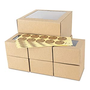30PCS Brown Bakery Pie Boxes, Large Kraft Cookie Boxes with PVC Window Natural Disposable Box 3 Sizes(15pcs=4