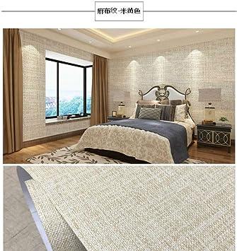 3m lino lino beige Papel pintado de color autoadhesivo lino pegatinas simples sala de estar impermeable papel tapiz grueso de pared 0.6m