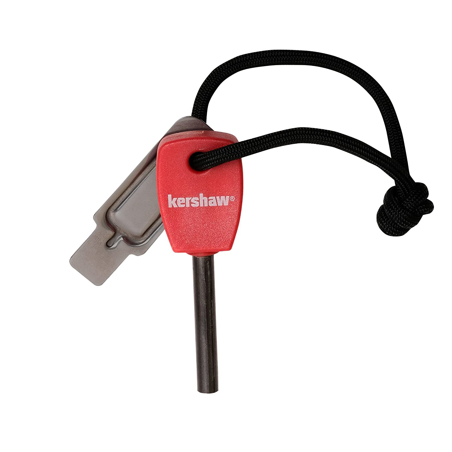"""Red Molded Plastic Handle Chrome-Plated Striker Steel Up to 3000 Strikes Nylon Lanyard Waterproof 1019X Kershaw Firestarter Easy to Operate 1.1 OZ 3.1/"""" High-Performance Magnesium Firesteel"""