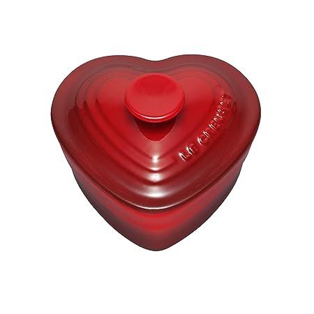 LE CREUSET Ramequín en Forma de corazón, para 2 porciones, Cerámica de gres, Rojo (Cereza), 300 ml