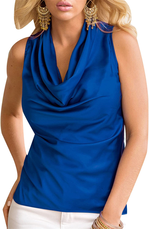 Moda Sin Mangas Drapeado Drapeadoada Neckline Cuello Desbocado Fruncido Frunces Chifón Pull On Blouse Blusón Blusa Vest Tank Cami Camisero Camiseta Camisa Top Azul XL: Amazon.es: Ropa y accesorios