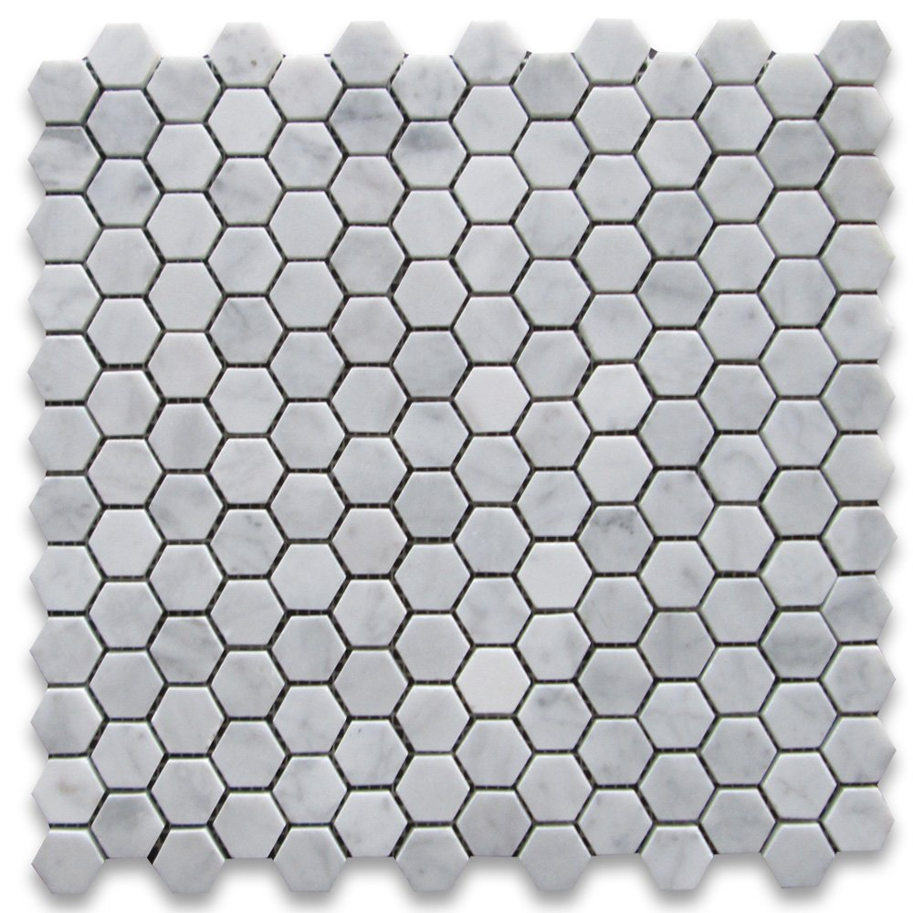 Carrara White Italian Carrera Marble Hexagon Mosaic Tile 1 inch Honed      Amazon com. Carrara White Italian Carrera Marble Hexagon Mosaic Tile 1 inch