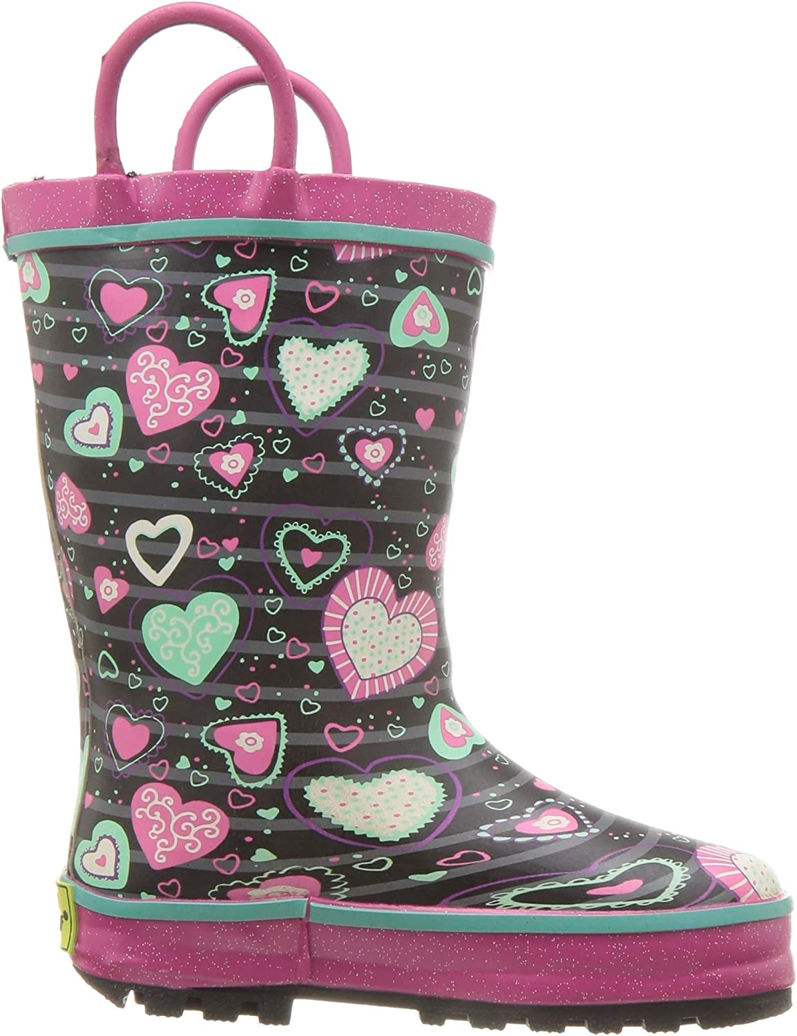 Western Chief Kids Waterproof Printed Lined Rain Boot with Easy Pull on Handles