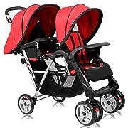 Costzon Double Stroller, Twin Tandem Baby Stroller with Adjustable Backrest, Footrest, 5 Points Safety Belts, Foldable Design for Easy Transportation (Red)