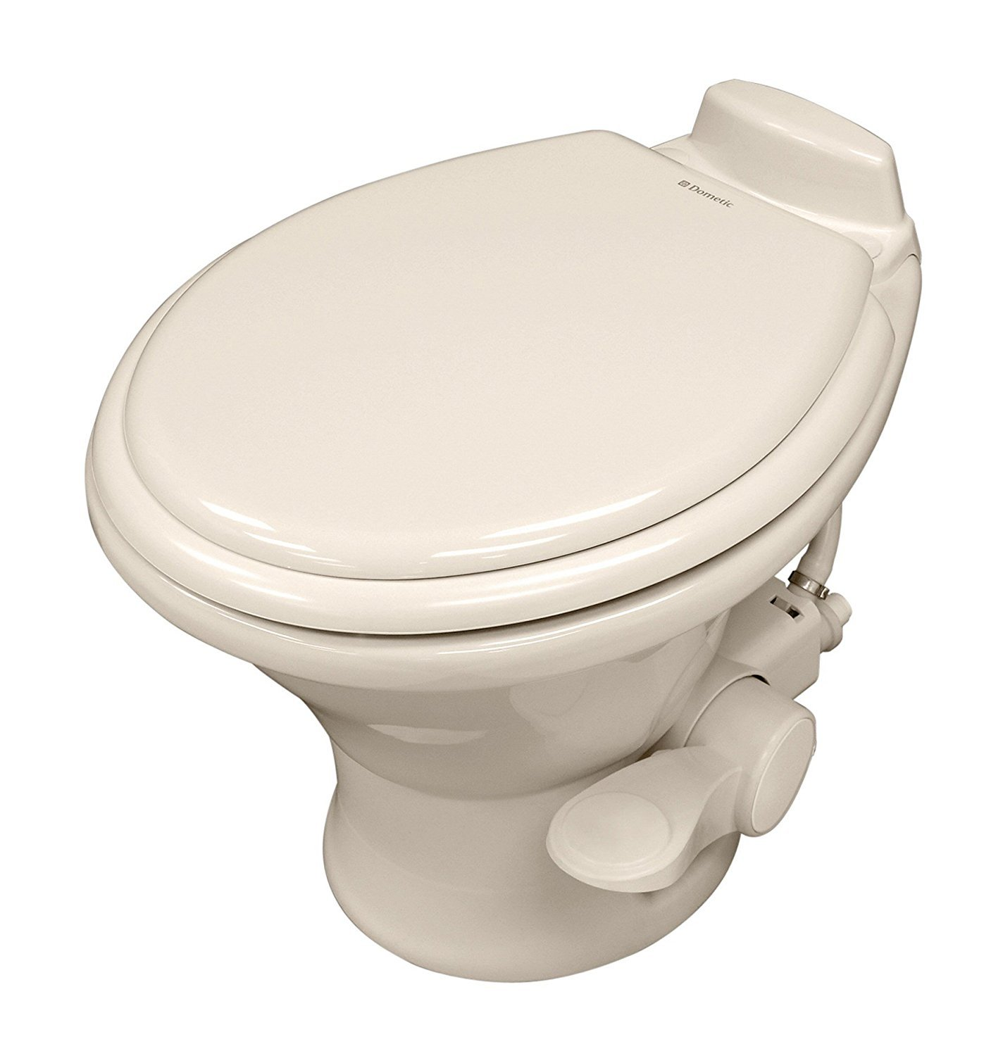 Dometic w 310 Series Low Profile Toilet 14'' Height 302311733, Slow Close Wood Seat, Bone with Hand Sprayer