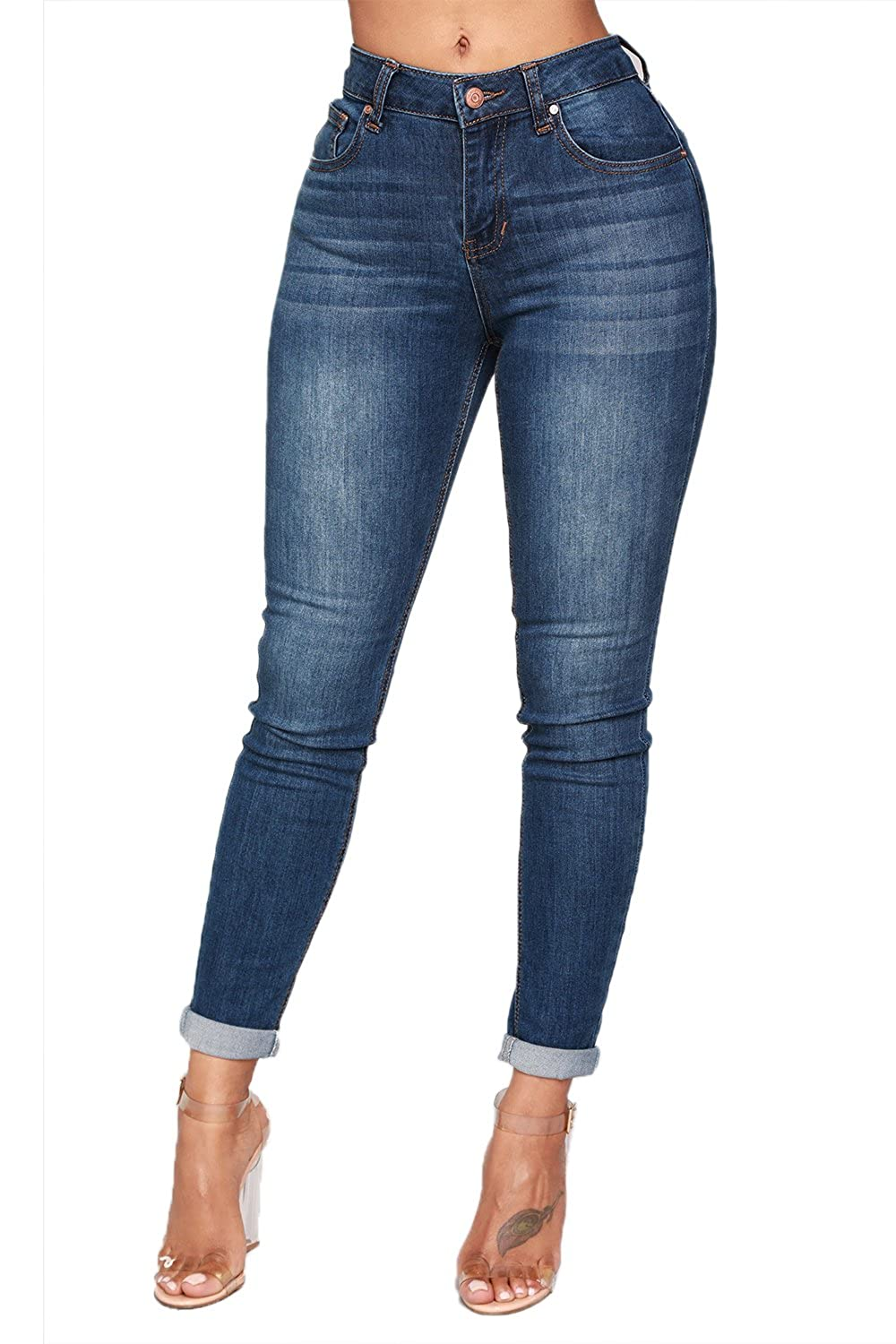 780b2c19962 Material: Cotton+Polyester, stretchy and comfortable to wear. Mid Waist:  Zipper closure and traditional five-pockets styling basic skinny jean for  women.