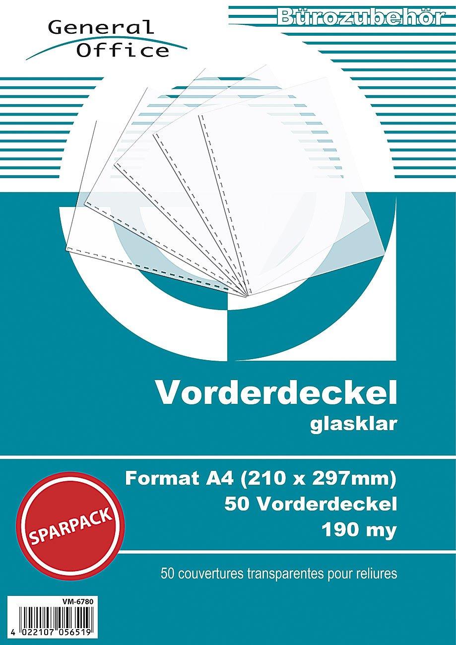 General Office Klarsichtfolie: 50 glasklare Vorderdeckel A4 190my fü r Spiralbindung (Ringbindung Zubehö r)