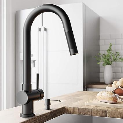 VIGO VG02008MB Gramercy 17 Inch Single Handle Pulldown Arc Brass Kitchen  Sink Faucet, Single Hole Install, 360 Swivel Spout, Premium Seven Layer ...
