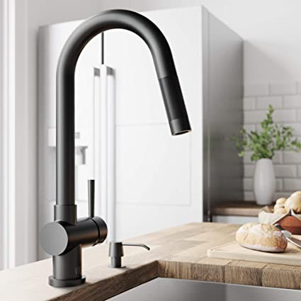 Vigo Vg02008mb Gramercy 17 Inch Single Handle Pulldown Arc Brass Kitchen Sink Faucet Single Hole Install 360 Swivel Spout Premium Seven Layer