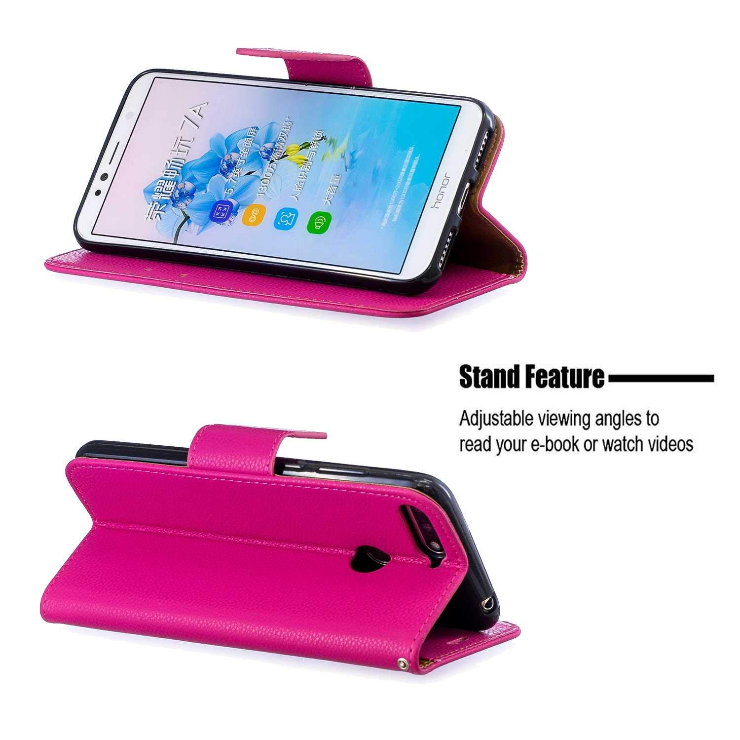 Huawei Honor 7A // Y6 2018 Case Purple Bear Village/® Premium PU Wallet Protective Case with Kickstand Function Wrist Strap and Card Slots for Huawei Honor 7A // Y6 2018