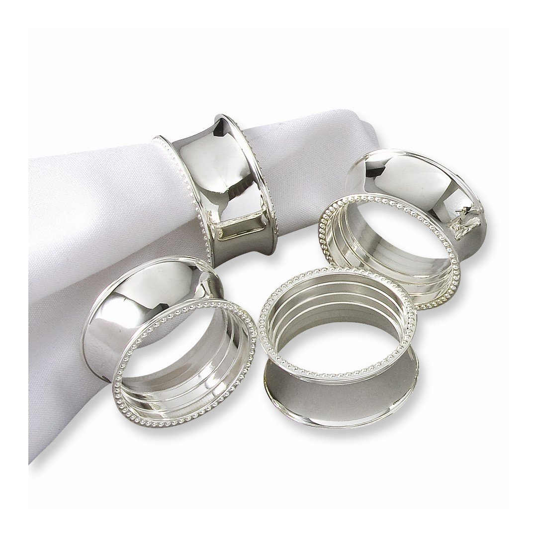 ICE CARATS Set Of 4 Silver Plated Beaded Napkin Band Rings Fashion Jewelry Ideal Gifts For Women Gift Set From Heart