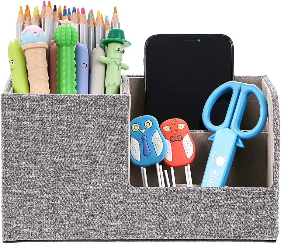 BTSKY Linen Desk Organizer Pen/Pencil Holder Remote Control/Cell Phones/Brushes Holder Office Home Accessories Container Storage Box (Linen Grey)