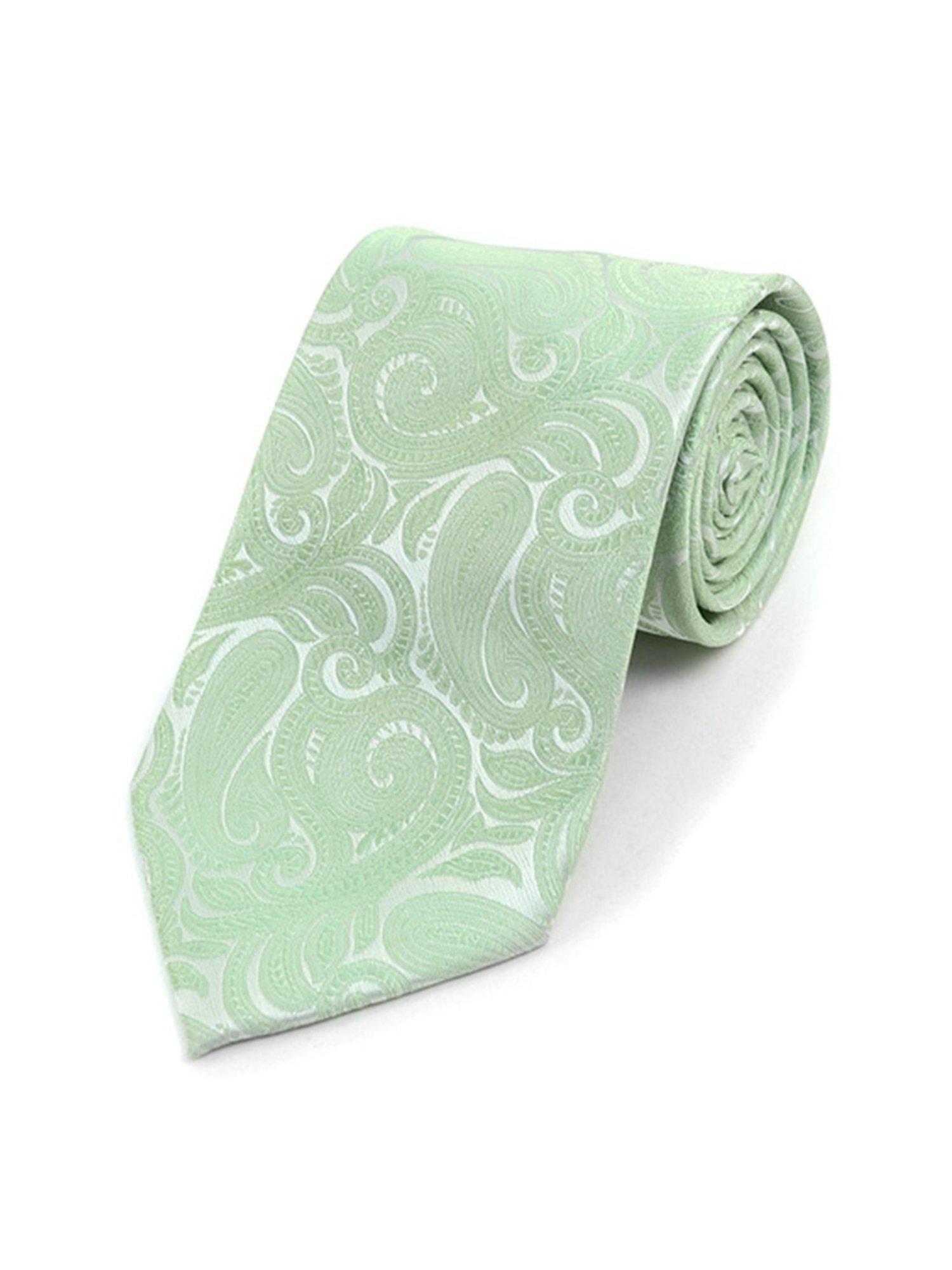 Men's Sage Paisley 100% Microfiber Poly Woven Wedding Neck Tie
